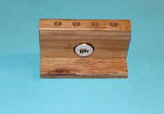 Wood Pencil Holder, Pecan, Recycled Miller Lite Bottle Top, Desk Organizer, C120 by woodhut on Etsy