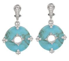 Judith Ripka Sterling Turquoise and Diamonique Earrings