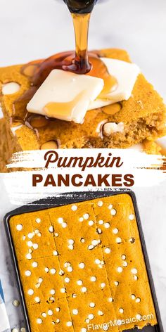 Making these amazing Pumpkin Sheet Pan Pancakes is a new way to quickly make breakfast for the whole family so everyone can eat at the same time! By baking the entire batter in the sheet pan, everyone can sit down together to eat. No more standing over a hot griddle waiting to flip individual pancakes, serving one at a time! Baked Pancakes, Pumpkin Pancakes, Pumpkin Dessert, Savory Pumpkin Recipes, Baked Pumpkin, Chocolate Chips, White Chocolate, Pumpkin Custard, Real Food Recipes
