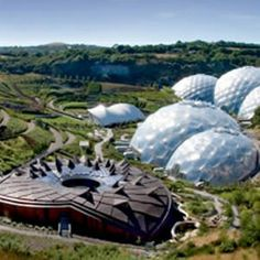 The Eden Project, St Austell, Cornwall.  The largest greenhouse in the world (or bio-domes)
