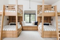 Cabin on the Lake Simple and beautiful bunk roomYou can find Bunk rooms and more on our website.Cabin on the Lake Simple and beautiful bunk room Bunk Bed Rooms, Bunk Beds Built In, Modern Bunk Beds, Cabin Bunk Beds, Four Bunk Beds, Best Bunk Beds, Unique Bunk Beds, Bunk Bed Decor, Corner Bunk Beds