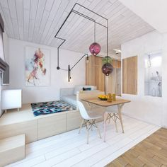 Дизайн квартиры-студии 24 кв. м. в скандинавском стиле