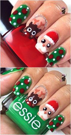 Christmas Nails – Santa and Rudolph – 20 Fantastic DIY Christmas Nail Art Designs That Are Borderl… Diy Christmas Nail Art, Holiday Nail Art, Winter Nail Art, Winter Nails, Christmas Makeup, Xmas Nail Art, Nail Art For Kids, Christmas Glitter, Xmas Nails