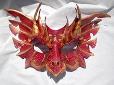 Scarlet Leather Dragon Game of Thrones House of Targaryen Inspired Cosplay Mask.