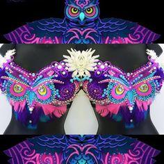 EDC Electric Owl Bra (LED lights): rave wear, festival, edm, rave bra, halloween, carnival, kandi, plur, coachella, NYE, rainbow, edc
