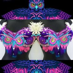 38D Push (premade)- EDC Electric Owl Bra (LED lights): festival, edm, rave bra…