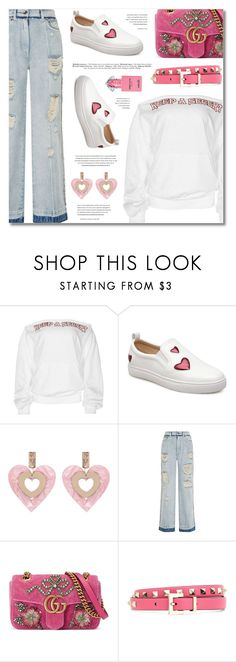 """""""Power Look; Jeans & Sneakers"""" by defivirda ❤ liked on Polyvore featuring Dolce&Gabbana, Gucci, Valentino and Guerlain"""
