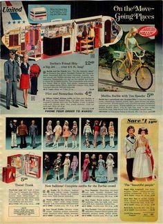 Barbie Friend Ship Plane, United Airlines Pilot & Stewardess Outfits, Malibu Barbie, Ten Speeder Bike, Barbie & Ken Fashions, Mod Hair Ken and Quick Curl Miss America Dolls from the Montgomery Ward Christmas Catalog, 1974