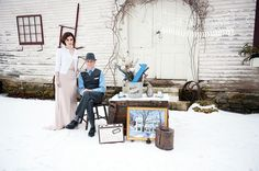 Vintage / Rustic Winter Anniversary Photo Shoot in Vermont - restyled wedding gown for first anniversary, with snow, antique tools and tea cups - blush gown, blue accents