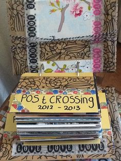 Postcrossing cards made into a book