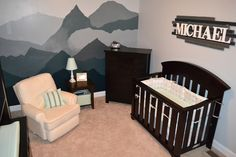 There's something magical about putting together a nursery for your sweet baby. It's imaging what type of boy he'll grow to become, providing him with all the things he needs, and finding each special piece that you know he'll love. We are incredibly blessed to be given this miracle and cannot wait to meet little Michael. I wanted to create a mountain mural as an accent wall because I love the symbolism behind it. I want my son to overcome obstacles, always keep his sights on ...
