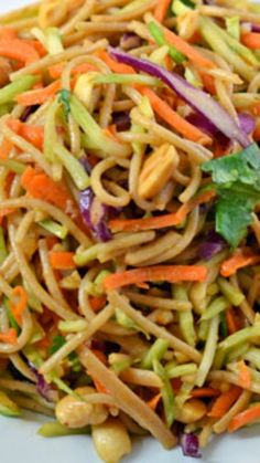 Asian Noodle Salad with sweet Sriracha peanut sauce. Fresh, healthy, and ready in 4 steps!