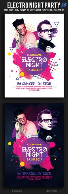 Electro Night Party Flyer — Photoshop PSD #dance music #artist • Available here → https://graphicriver.net/item/electro-night-party-flyer/19660169?ref=pxcr