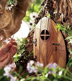This will be one of my summer projects: make a tiny door. Attach it to a tree in the backyard during nap time. I think the kids I nanny for would be mystified by it!