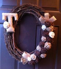 Monogram Grapevine Wreath with Burlap Flowers for Front Door by WeHaveWreaths for $45.00
