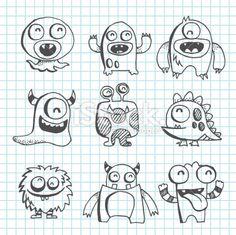 Monster Line Art Drawing Royalty Free Stock Vector Art Illustration