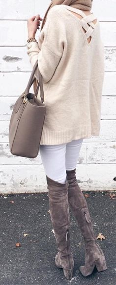 #winter #fashion / Light Open Back Knit / White Skinny Jeans / Brown Velvet OTK Boots