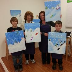 Finished paintings! Great bonding with Mom, Grandma, Son and Nephew!