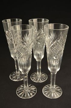 VISIT US! Tyrone Irish Crystal Clear Champagne Fluted Glasses Wine  i sold this crystal in my 30's  beautiful