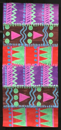 Kente Cloth lesson  - create with oil pastel resists, perhaps lace together with hold punched cardstock???