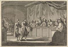 Jan Luyken | Hervormde predikanten Gillis en Courdil lezen op de synode te Anjou een verklaring voor dat zij overgaan tot de katholieke kerk, 1681, Jan Luyken, Pieter van der Aa (I), 1698 |