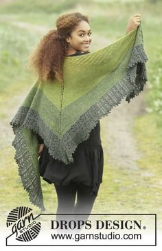 Shades of Eire by DROPS Design. Such a pretty shawl and a free #knitting pattern too :)