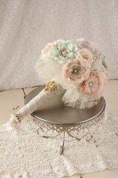 Bridal+Fabric+Bouquet+Fabric+Brooch+Bouquet+by+thewistfulwillow,+$460.00