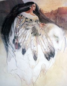 White Buffalo Calf Woman. Honoured by many Native American nations, she is said to have appeared to the Lakota with sacred teachings to foster peace throughout the generations ~
