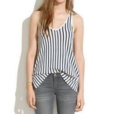 Madewell striped tank top small Linen blend striped tank top from madewell. Navy and cream. Excellent condition, size small. Madewell Tops Tank Tops
