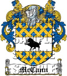 McCann Family Crest apparel, McCann Coat of Arms gifts