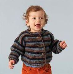Striped Baby Cardigan: #knit #knitting #free #pattern #freepattern #freeknittingpattern #knittingpattern