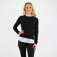 Vero Moda Black Fine Knit Jumper With White Faux Shirt Attached Under Pink Cadillac, Workwear, Jumper, Knitting, Stylish, Shirts, Black, Women, Work Wear