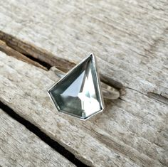 Geometric Triangle Golden Mirror Kite Heptagon Pyrite Quartz Doublet Ring in Sterling Silver by GildedBug on Etsy