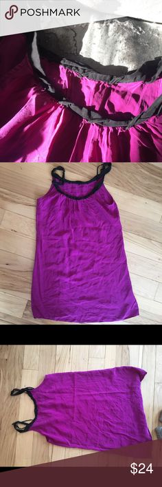 Rory Beca Purple Silk Too With Black Trim Fantastic bright purple silk summer top by Rory Becca with black trim. Size M, no known defects. Can be worn alone or with a belt for accent. Rory Beca Tops Camisoles