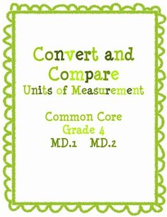 Convert and Compare Measurement Pack Common Core Grade 4-17 pages-Students will convert between measurements, decide which measurement is best and answer story problems about measurement in this pack.
