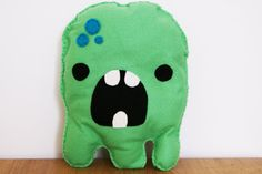 Green Monster Cushion with Cute Bow Plush Soft by peenanator
