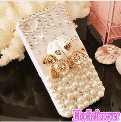 SALE! Christmas gift,Bling Cinderella's Pumpkin Car iPhone 5 Case, Pearl Cinderella iPhone 5S Case, Pumpkin Car Swarovski iPhone 5 Case