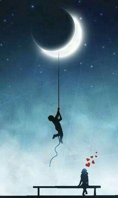 Illustration of Amorous exploits, love background vector art, clipart and stock vectors. Art Soleil, Beautiful Moon, Moon Art, Moon Child, Stars And Moon, Belle Photo, Night Skies, Good Night, Urban Art
