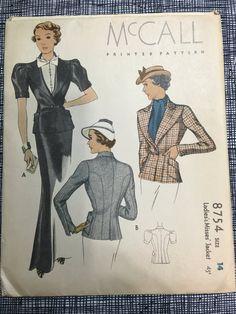 Rare 1936 Mccall 8754 Printed Pattern ladis Jacket UNCUT FF