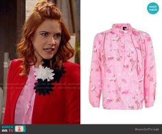 Sally's pink blouse on The Bold and the Beautiful.  Outfit Details: https://wornontv.net/68431/ #TheBoldandtheBeautiful