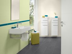 A great contrast for your bathroom. Combine white furniture and wash basins with green colors to achieve a fresh and vernally effect! www.vibo.info/gpbw
