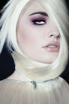 Blonde Zippered Wig, and Purple Smokey Eyes. Editorial Hair & Makeup.
