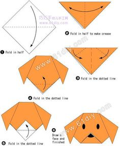 Origami Dog Face Folding Instructions / Origami Instruction on imgfave