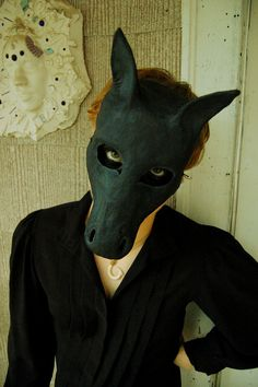 Black Horse mask Paper Mache Handmade from Scratch by MuertoMarie, $42.00