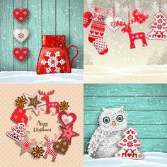 Set of vector cute Christmas backgrounds for 2017 year's designs with Christmas tree, reindeer, snowflakes like embroidery thread.