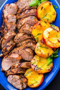 Bbq Pork Tenderloin, Bbq Pork Ribs, Pork Tenderloins, Pork Roast, Roast Brisket, Peach Recipes Dinner, Pork Rib Recipes, Healthy Pork Tenderloin Recipes, Grilled Recipes