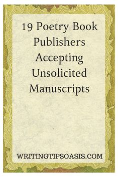 19 Poetry Book Publishers Accepting Unsolicited Manuscripts - Writing Tips Oasis