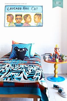 Boy's bedroom in the Sydney home of Sophie & Bruce of Utopia Goods. Blanket by Pendleton Woolen Mills. More on the Temple & Webster blog.