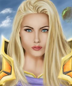Drawing of female: Blood Elf - Paladin.  The blood elves are a proud, haughty race, joining the Horde in Burning Crusade. They represent a faction of former high elves, split off from the rest of elven society.