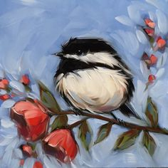 Reserved for Alex Chickadee painting Original oil by LaveryART